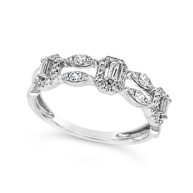 Round and Baguette Diamond Double Row Open Ring