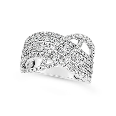 Five Row Diamond Ring with Crossover Design