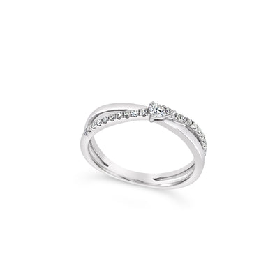 Diamond Crossover Detail Ring