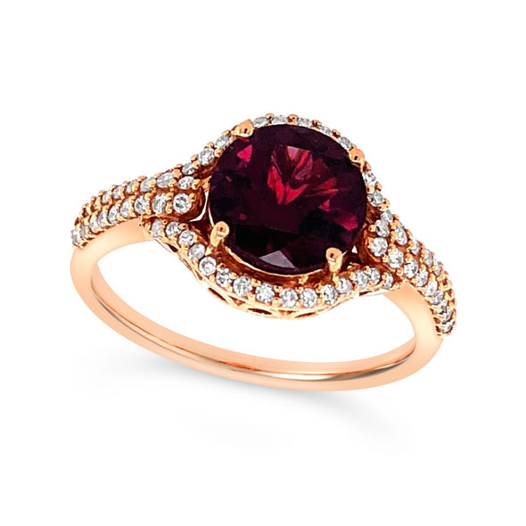 Round Garnet and Diamond Two Row Mounting