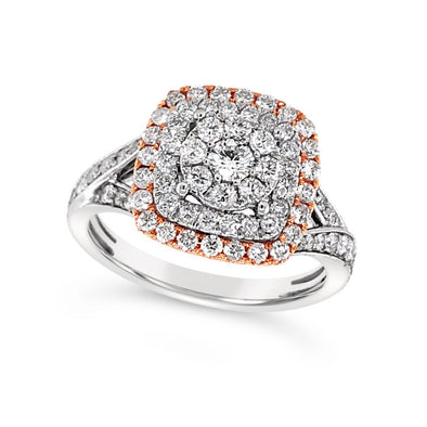 Triple Halo and Split Shank Diamond Ring