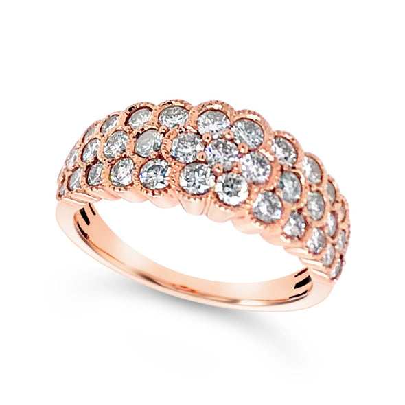 Three Row Rose Gold Diamond Ring