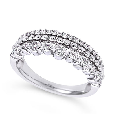 Three Row Bead and Bezel Set Diamond Ring