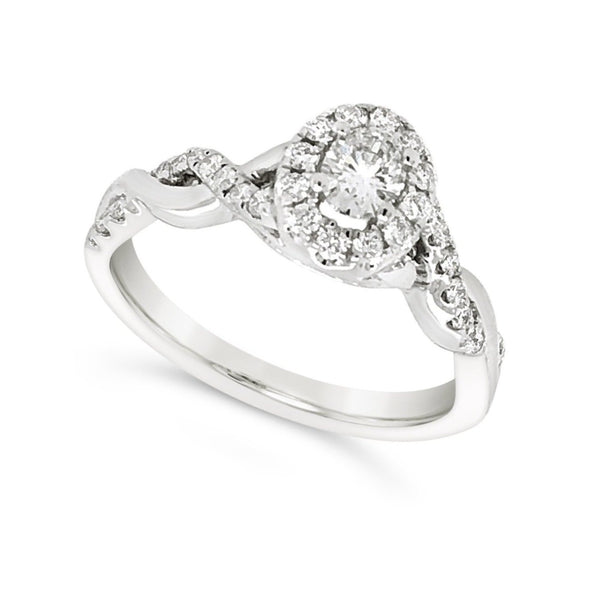 Oval Diamond Halo and Crossover Design Engagement Ring