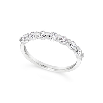 Seven Round Bezel Set Diamond Wedding Band - .50 carat t.w.