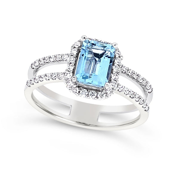 Emerald Cut Aquamarine and Open Two Row Diamond Ring