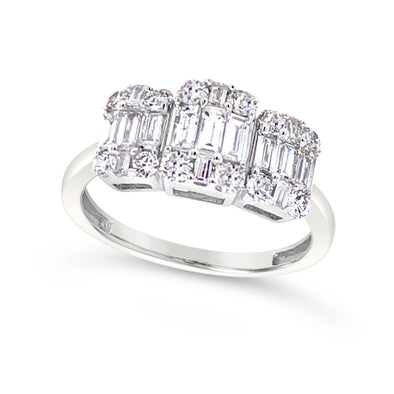 Three Stone Baguette and Round Diamond Ring
