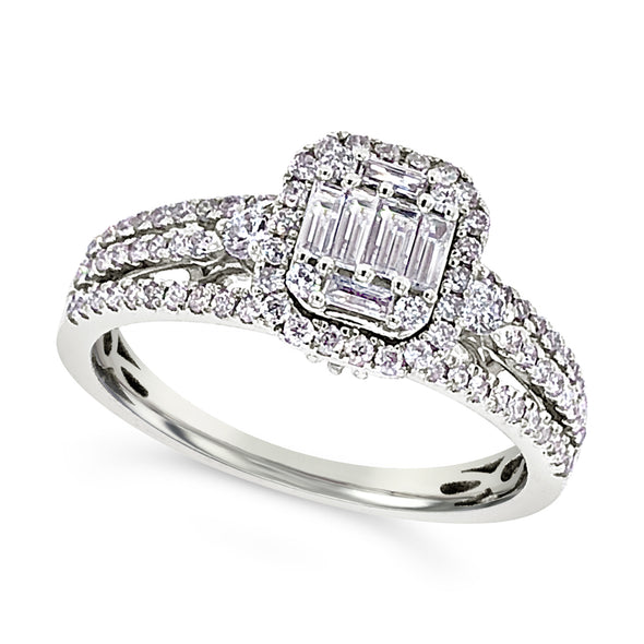 Baguette and Round Diamond Three Row Ring