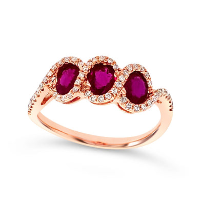 Three Stone Oval Ruby and Diamond Halo Ring