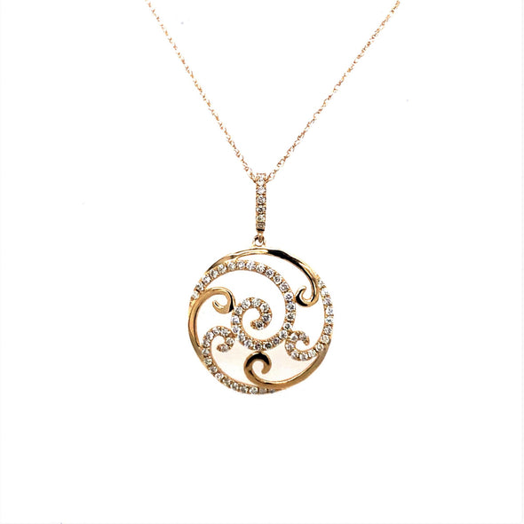 Diamond Open Scroll Design Round Pendant