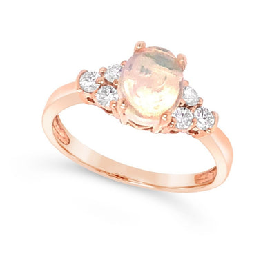 Oval Opal and Diamond Detail Ring