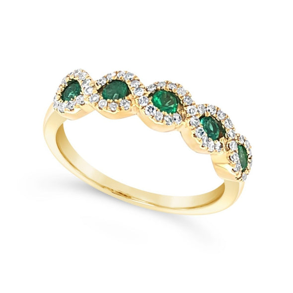 Five Emerald and Tapered Diamond Halo Ring