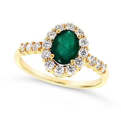 Oval Emerald and Diamond Halo Ring