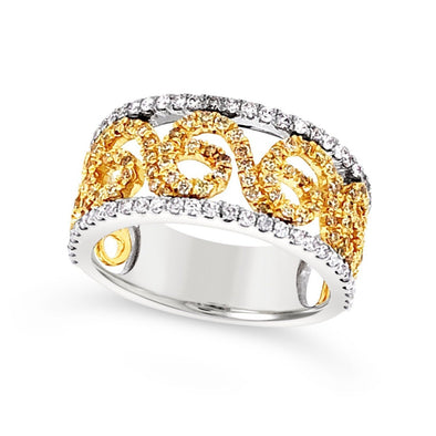 Yellow and White Gold Diamond Swirl Design Band