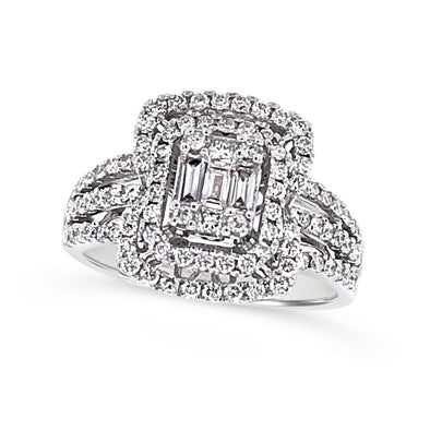 Baguette and Round Diamond Double Halo and Triple Shank Ring