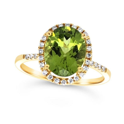 Oval Peridot and Diamond Halo Ring