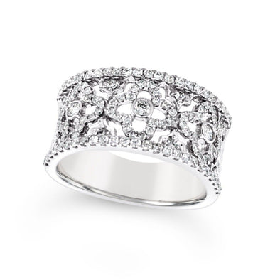 Wide Diamond Ring with Interior Flower Design