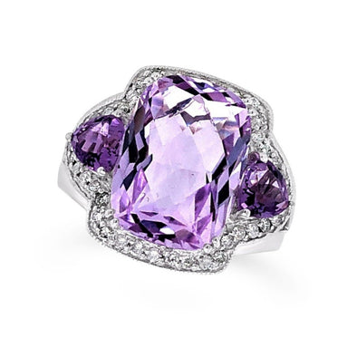 Cushion Cut and Half Moon Amethyst and Diamond Halo Ring