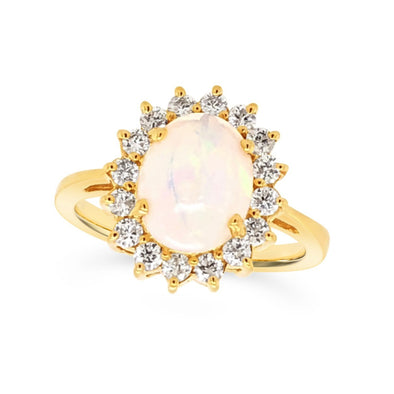 Oval Opal and Diamond Halo Ring