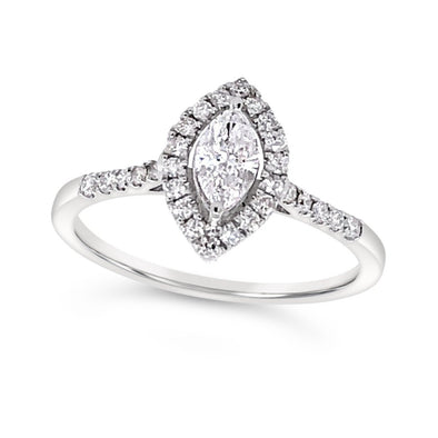 Marquise Diamond and Diamond Halo Engagement Ring