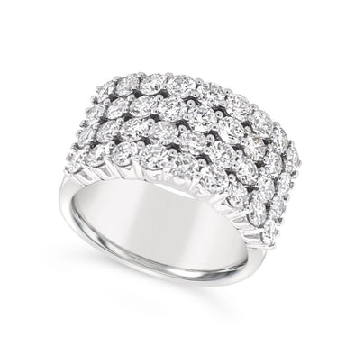 Four Row Diamond Wide Ring