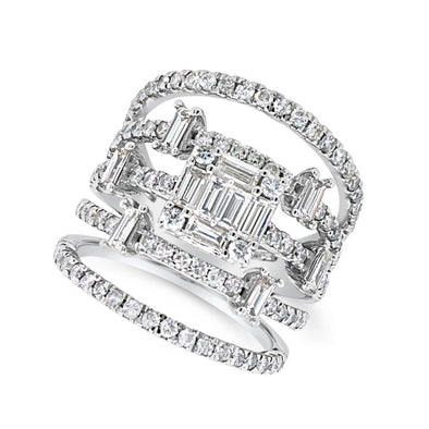 Baguette and Round Diamond Five Row Ring