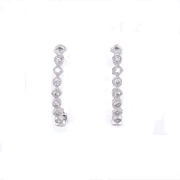 Milgrain Edge Oval Diamond Hoop Earrings