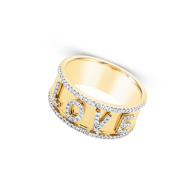 Wide Diamond Love Ring