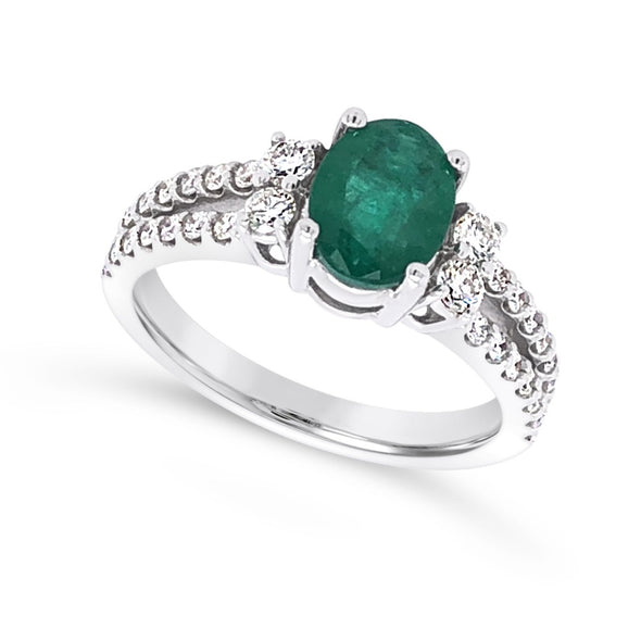 Emerald and Two Row Diamond Ring