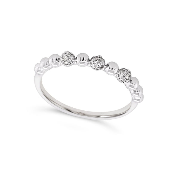 Ball and Diamond Detail Stackable Ring