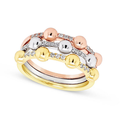 Tri-Color Gold and Diamond Stackable Ring
