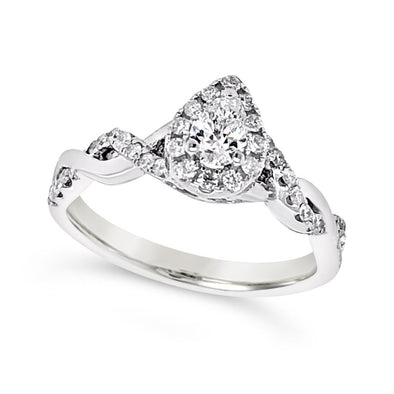 Pear Shaped Diamond Halo Engagement Ring with Twisted Mounting Design