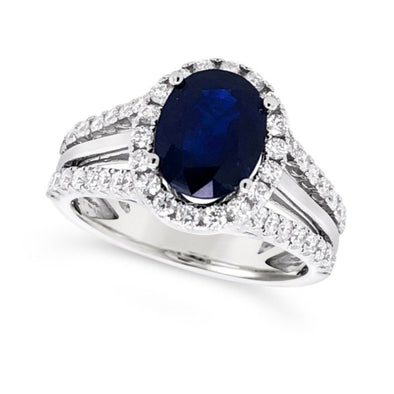 Oval Sapphire and Diamond Halo Ring