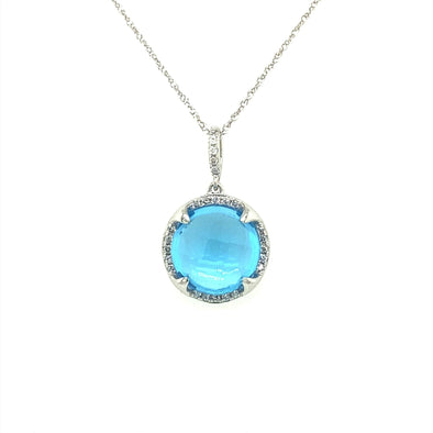 Round Blue Topaz and Diamond Pendant