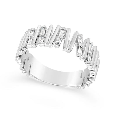Baguette Diamond and Vertical Bar Design Ring