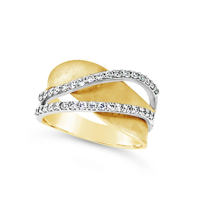 Diamond and Yellow Gold Wave Design Ring