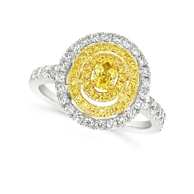 Yellow and White Diamond Three Halo Ring