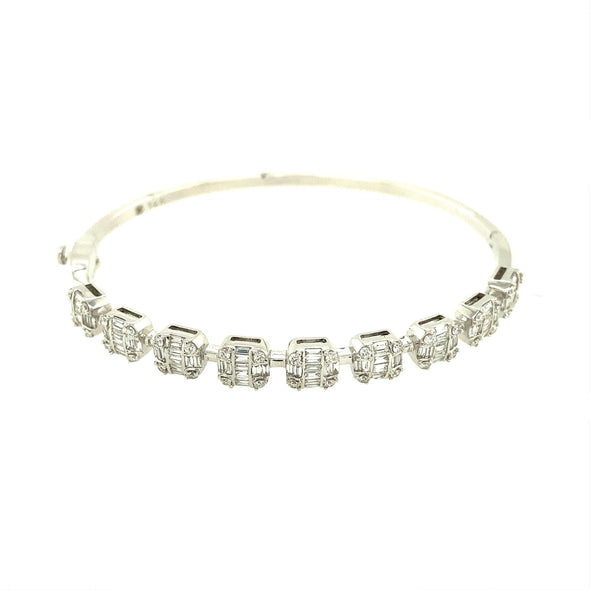 Baguette and Round Diamond Bangle Bracelet