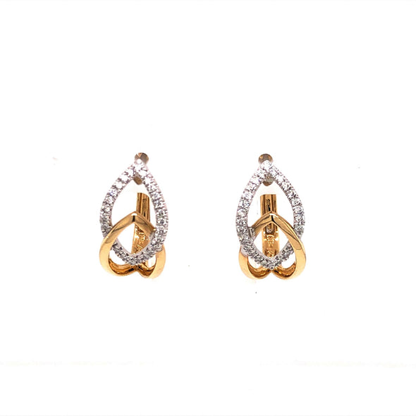 Two-Tone Gold Crossover Diamond Drop Earrings
