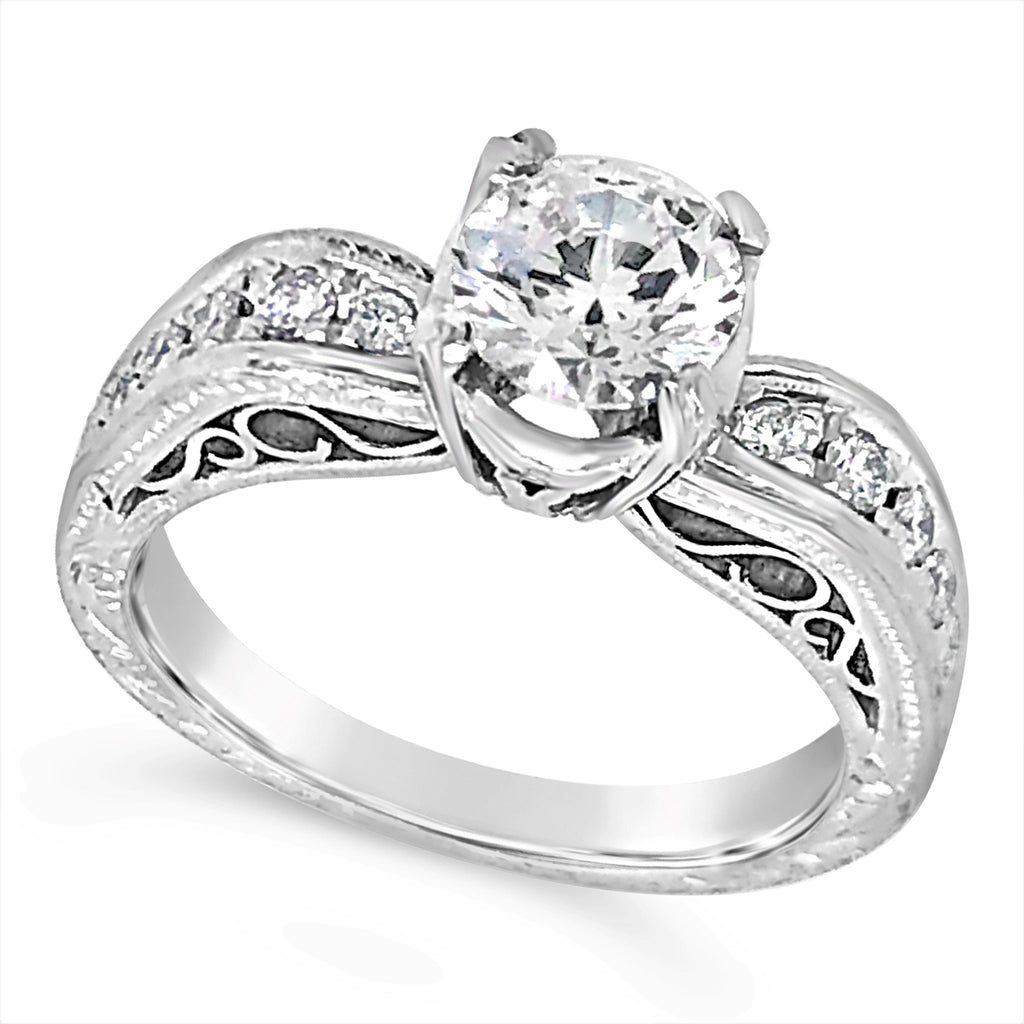 Round Diamond Vintage Style Engagement Ring