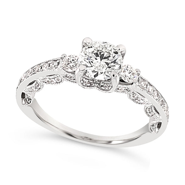 Channel Set and Side Diamond Design Engagement Ring