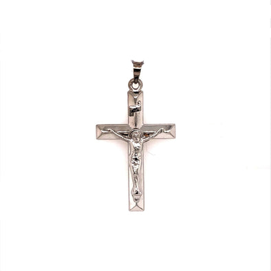 Flat Crucifix with Knife Edge Detail - 14kt White Gold