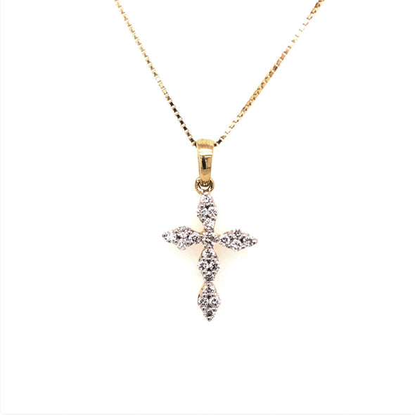 Yellow Gold Pointed Edge Diamond Cross Pendant