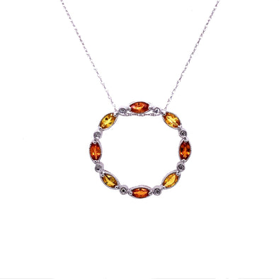 Yellow and Orange Sapphire and Diamond Open Circle Pendant
