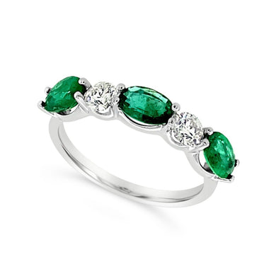 Alternating Oval Emerald and Round Diamond Ring