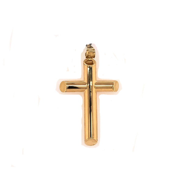 Thick Tube Cross - 14kt Yellow Gold
