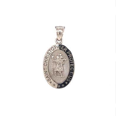 Medium St. Christopher Medal - 14kt White Gold