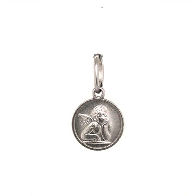 Round Angel Medal - 14kt White Gold