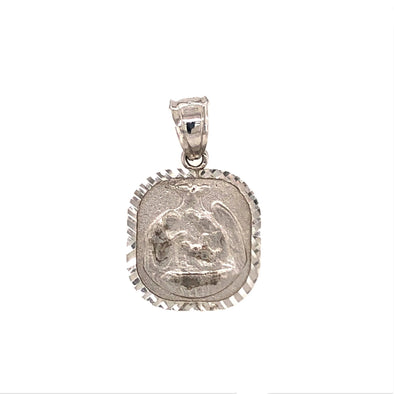 Square Baptismal Medal - 14kt White Gold