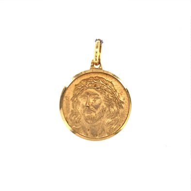 Round Christ Medal - 14kt Yellow Gold